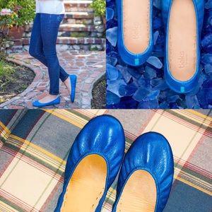 Cobalt Blue Leather Tieks Flats